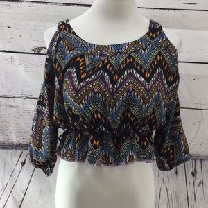 Cold Shoulder Aztec Print Crop Top